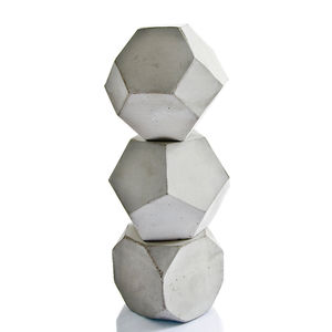 Set Of Three Geometric Concrete Shapes - paperweights