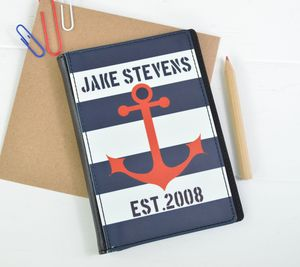 Boys Personalised Nautical Passport Cover