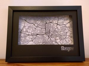 Glasgow Street Map Cut Out