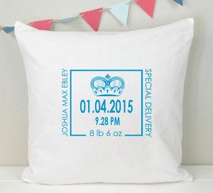Boys Personalised New Baby Nursery Cushion