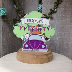Personalised Vintage Beetle Car Wedding Cake Topper