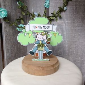 Personalised Vintage Bicycle Wedding Cake Topper - cake decorations