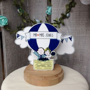 Personalised Vintage Hot Air Balloon Wedding Topper