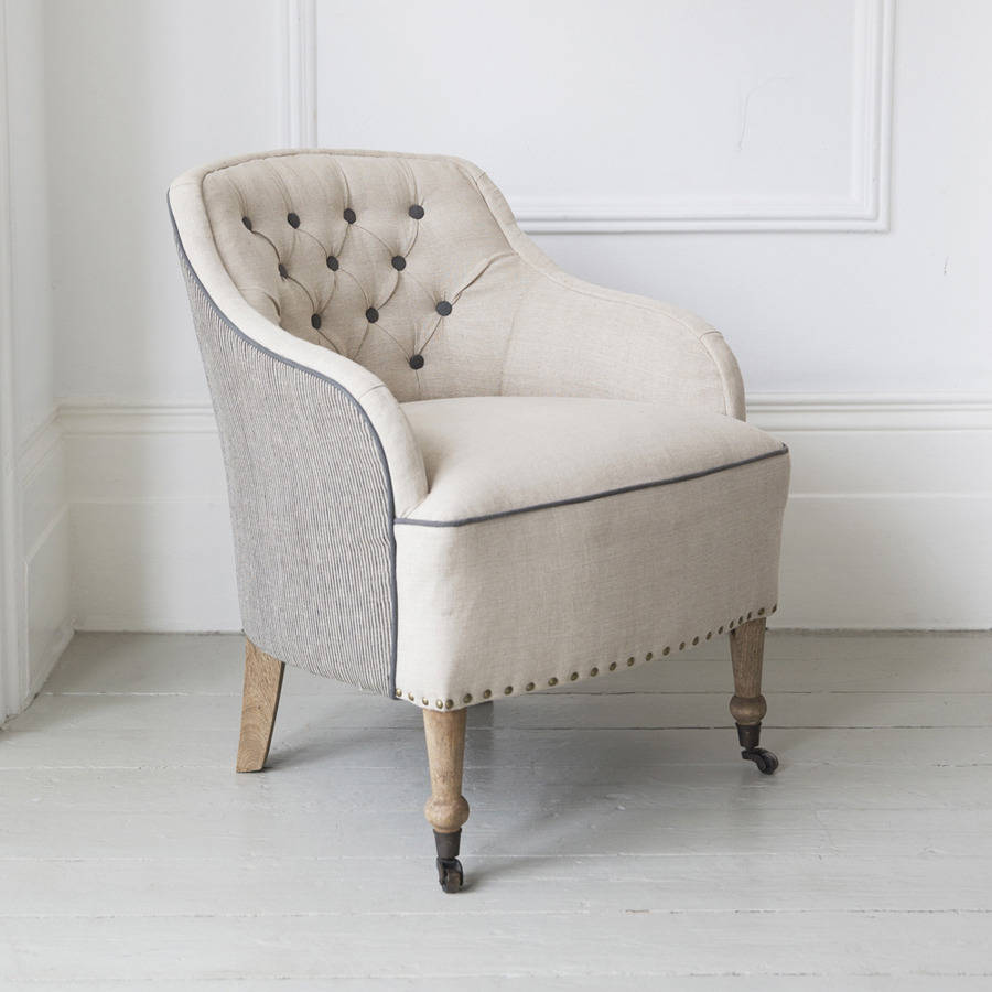 florence button back linen armchair by atkin and thyme ...