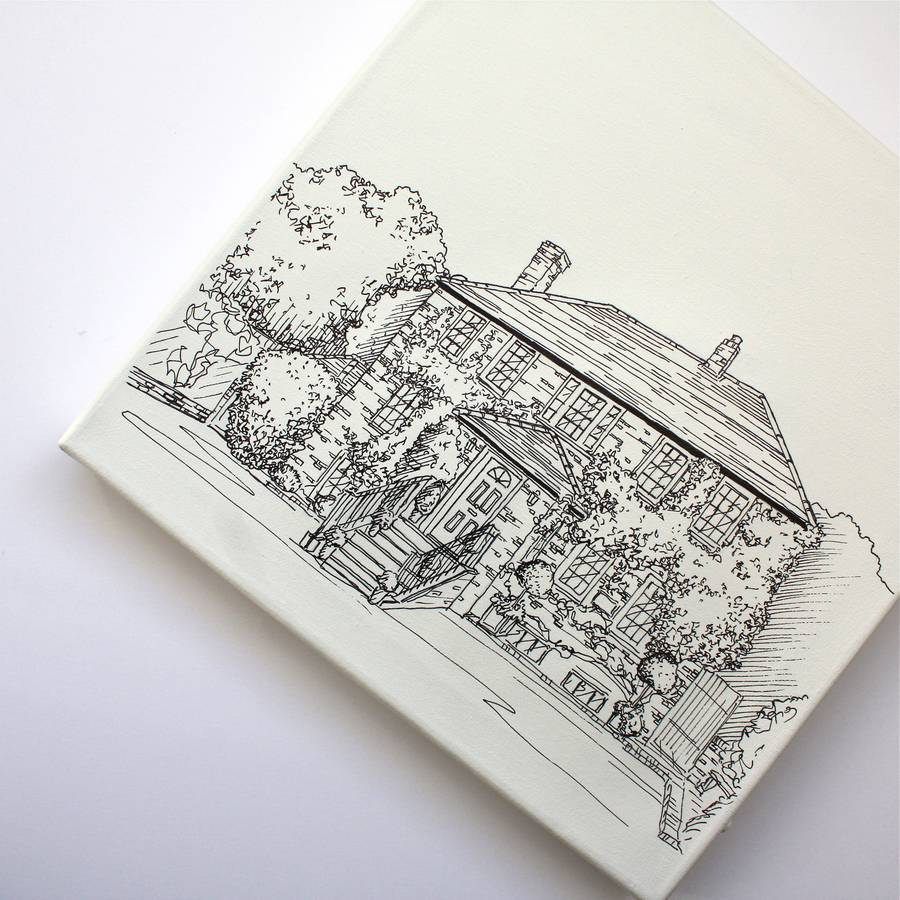 Drawing Smooth Lines Canvas : House and venue line drawing portraits on canvas by adam