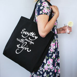 Everything Begins With Gin Shopper Bag - bags & purses