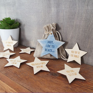 I Love You Because Personalised Message Star Tokens - gifts from younger children