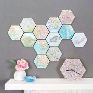 Map Location Hexagon Collectable Wall Art - mixed media & collage