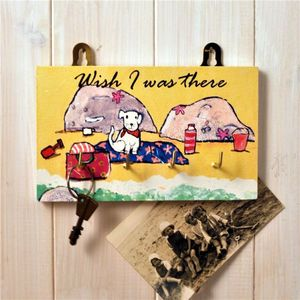 Beach Themed Key Rack ' I Wish I Was There' - hooks, pegs & clips