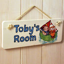 Personalised Owl And Pussycat Door Sign On Cream Rope