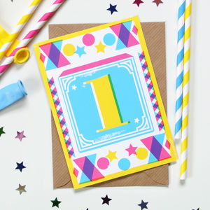 Kids' Age Number Block Print Birthday Cards - birthday cards