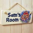 Personalised Noah's Arc Hanging Door Sign On Cream Rope