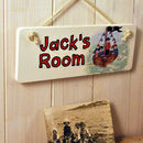 Personalised Pirates Door Sign On Cream Rope