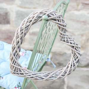Wicker Heart Hanging Decoration - wreaths
