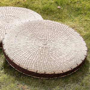 Circular Rush Weave Grass Floor Cushion - floor cushions & beanbags