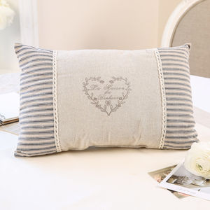 French La Maison Rectangular Cushion - embroidered & beaded cushions