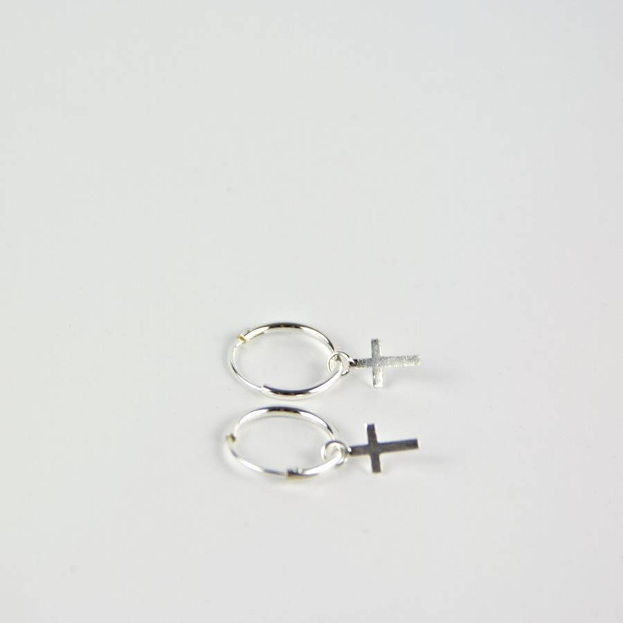 Pee Silver Cross Hoop Earrings