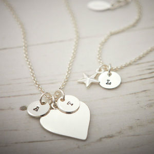 Personalised Silver Plated Heart Or Star Necklace