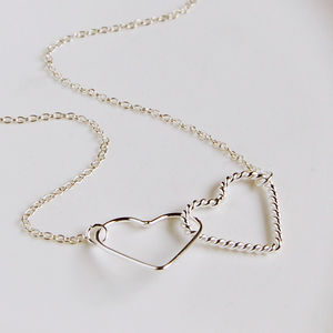 Sterling Silver Interlocking Hearts Necklace