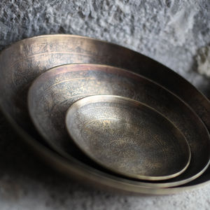 Hand Etched Antique Brass Bowl