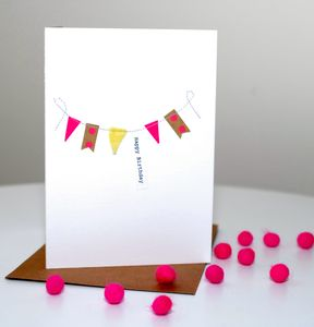 'Happy Birthday' Stitched Bunting Card