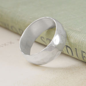 Men's Hammered Sterling Silver Ring - rings