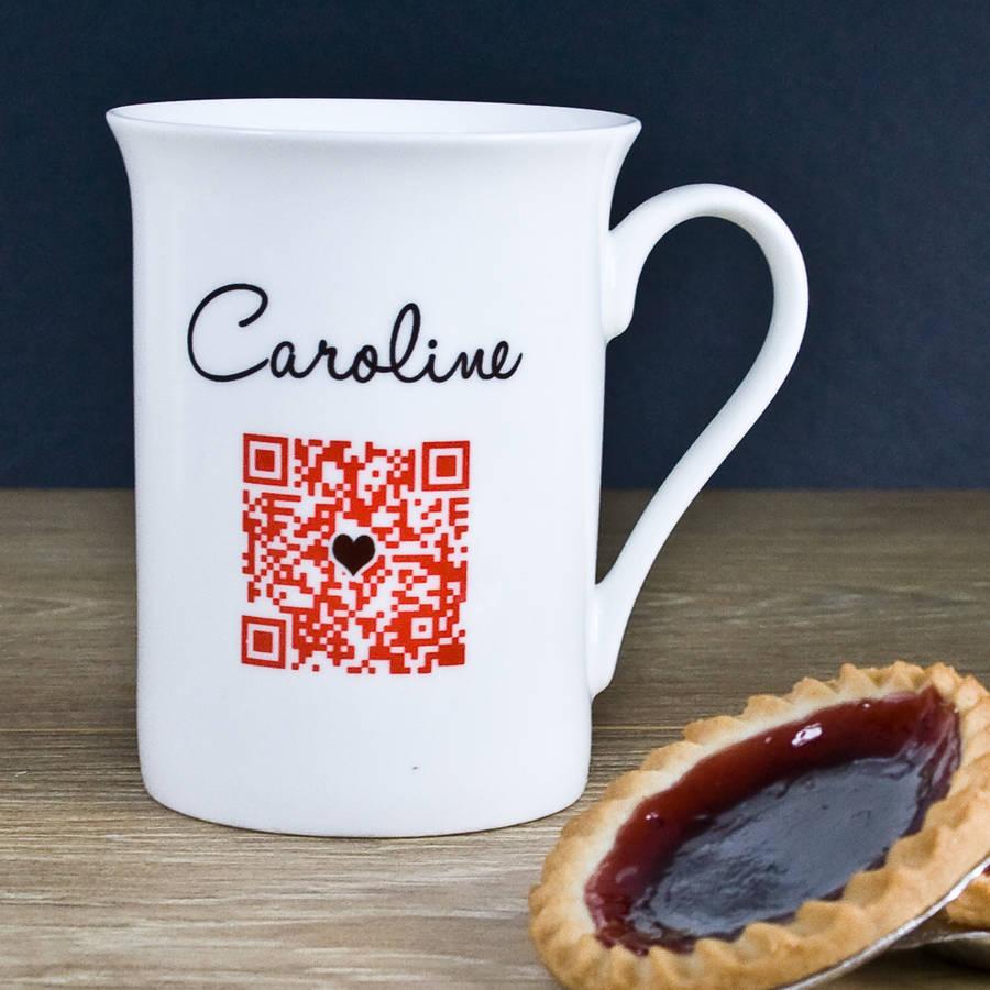 Personalised Secret Message 'Qr Code' China Mug