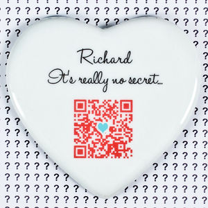 Personalised Secret Message 'Qr Code' Keepsake Heart - wedding favours