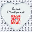 Personalised Secret Message 'Qr Code' Keepsake Heart