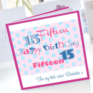 Personalised Girls 15th Birthday Card