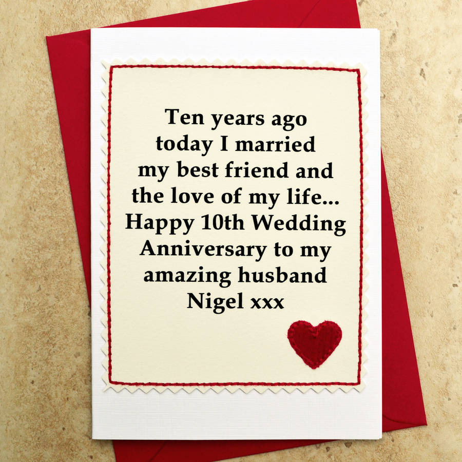 Personalised 10th Wedding Anniversary Card By Jenny Arnott Cards Amp Gifts