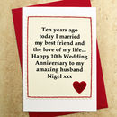 Personalised 10th Wedding Anniversary Card