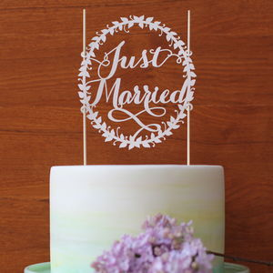 Paper Just Married Wedding Cake Topper - winter styling