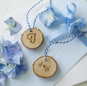 Engraved Birchwood Gift Tag - wedding favours