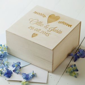 Engraved Wedding Keepsake Box