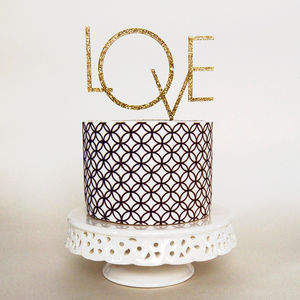 Art Deco Style 'Love' Wedding Cake Topper - cake toppers & decorations