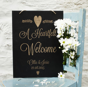 Engraved Chalkboard Wedding Sign - outdoor wedding signs