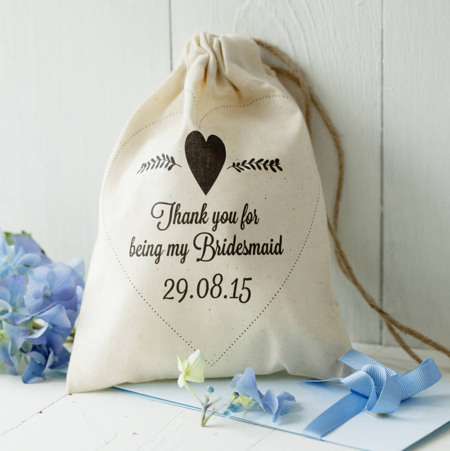 Heart Design Personalised Cotton Gift Bag