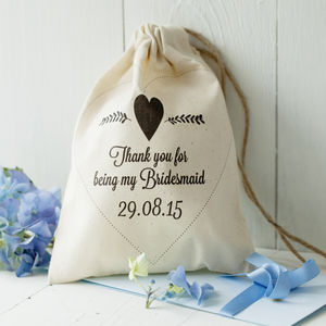 Heart Design Personalised Cotton Gift Bag - ribbon & wrap