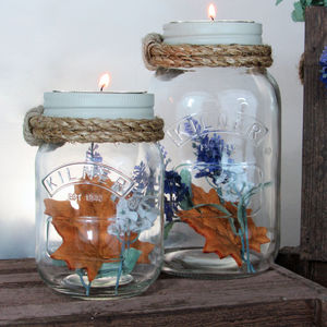 Decorative Jam Jar Vase And Candle Holder