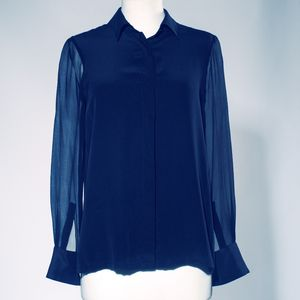 Amelie Silk Shirt With Sheer Chiffon Sleeves - blouses & shirts