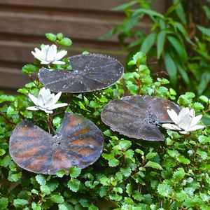 Handpainted Waterlily Sculptures Set Of Three - art & decorations