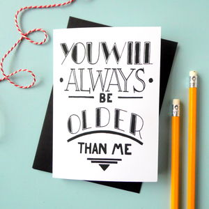 Typographic Sibling Birthday Card