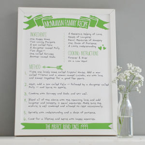 Personalised Family Recipe Print
