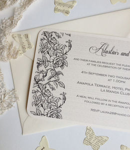 Rose Border Wedding Invitation