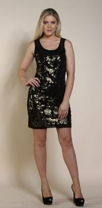 Gold Printed Doble Layer Mesh Lined Dress