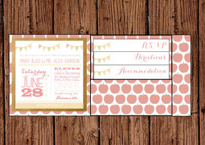 Bunting And Apple Pocket Fold Wedding Invitation - wedding stationery