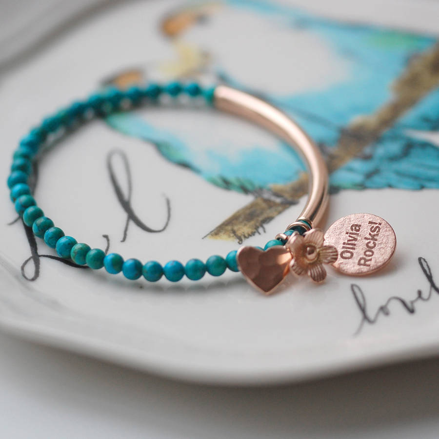 Chinese Turquoise And Rose Gold Bracelet By Oh So Cherished