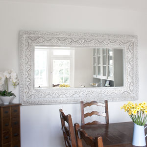Carved White 'Shabby Chic' Mirror