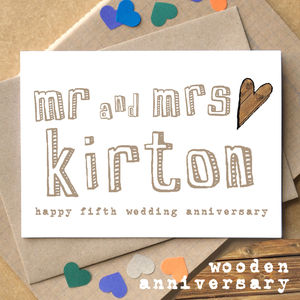 Personalised Fifth 'Wooden Anniversary' Card - anniversary cards